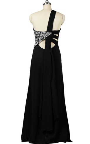 One-shoulder A-line Chiffon Dress With Side Beadings