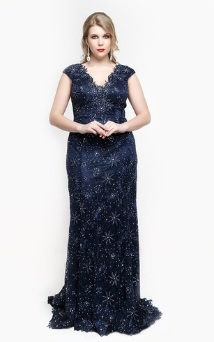 V Neck Cap Sleeve Sheath Lace Long Dress With Beading And Appliques