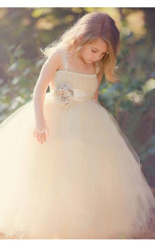 Lovely Sleeveless Tulle Girls Pageant Dress With Flower