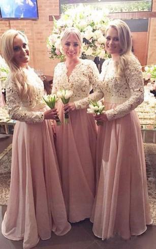 Long Sleeve Chiffon Bridesmaid Dress
