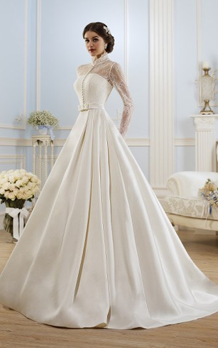 Vintage bridal dresses country wedding gown dorris wedding ball gown long high neck long sleeve illusion satin dress with lace junglespirit Choice Image