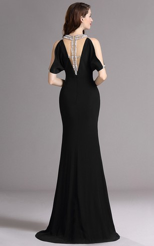 Sheath Sweep V-Neck Short Sleeve Jersey Beading Low-V Back Dress