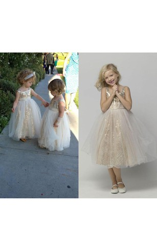 Glamorous Sequined Tulle A-line 2016 Flower Girl Dress Straps Sleeveless