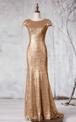 Gold Champagne Bridesmaids Dresses Sequined Bridesmaid Gowns