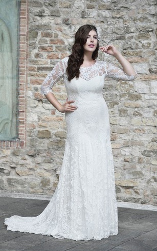 Sheath Floor-Length Scoop Neck Half Sleeve Lace Sweep Train Illusion Appliques Dress