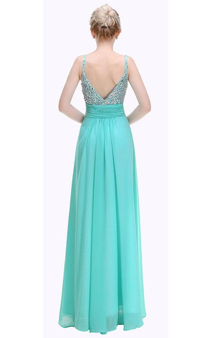 Sleeveless Straps A-line Floor-length Dress with Ruched Waist