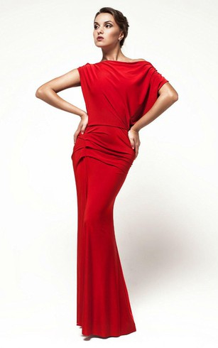 Off Shoulder Dropped Back Sheath Jersey Long Dress With Ruching