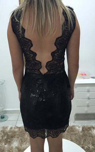 Delicate Lace Appliques Sequins Cocktail Dress 2016 Short Bodycon Black