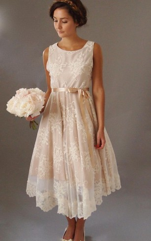 Sleeveless Scoop Neck A-Line Lace Tea Length Dress With Satin Bow Sash
