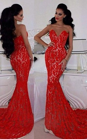 Sexy Red Lace Mermaid 2016 Evening Dress Sweetheart Sleeveless Sweep Train