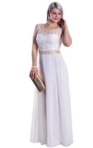 Empire Scoop Sleeveless Empire Chiffon Lace Illusion Dress