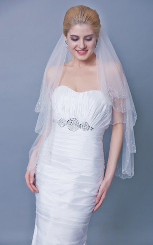 Two Tier Mid Length Beaded Trim Veil