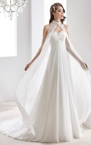 High Neck Sweetheart D Chiffon Wedding Dress With Crisscross Bust And Beaded Details