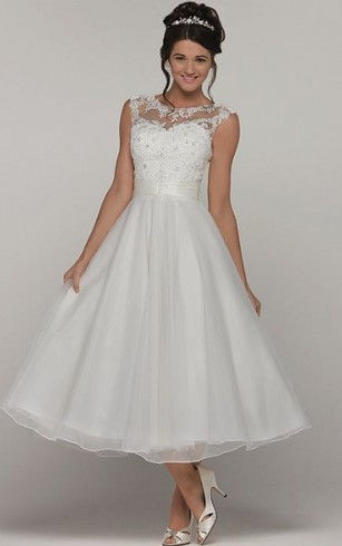 Tea length bridal dresses mid length wedding gown dorris wedding a line tea length scoop neck sleeveless organza wedding dress with appliques and junglespirit Image collections