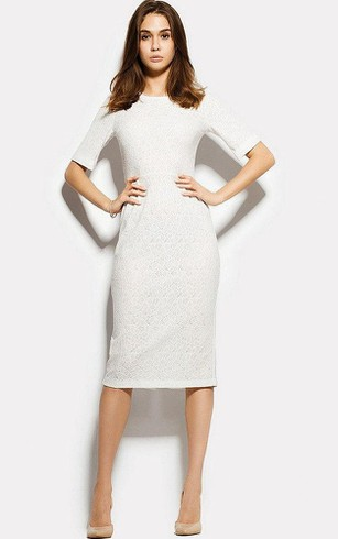 Bateau Half Sleeve Lace Sheath Knee Length Dress With Split