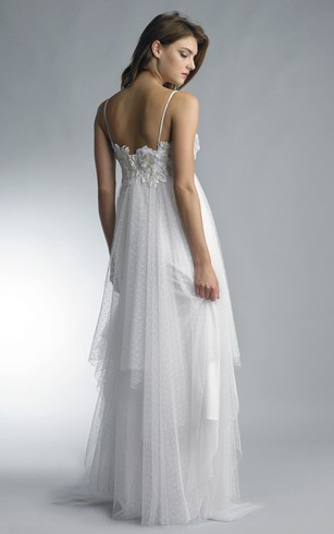 A-line Floor-length Strapless Spaghetti-strap Tulle Zipper Dress