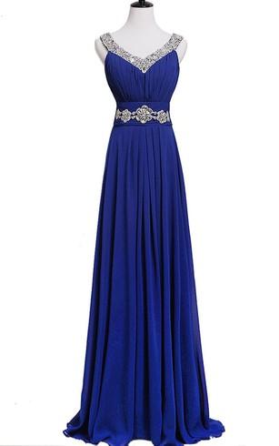 Sleeveless Sequined Long Pleated Chiffon Dress