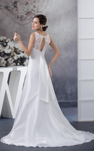 Sleeveless A-Line Appliqued Keyhole Back and Dress With Illusion Neckline