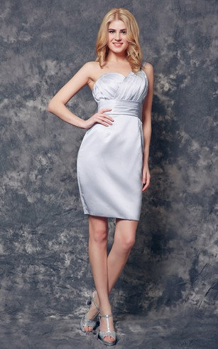One Shoulder Ruched Short Satin Dress