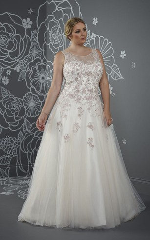 Ball Gown Floor Length Scoop Neck Sleeveless Tulle Court Train Lace Up Back Beading