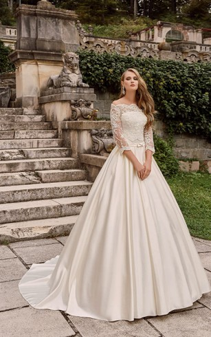 Off The Shoulder Long A Line Satin Wedding Dress With Lace Bodice