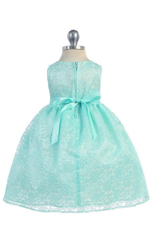 Bateau Neck Sleeveless Pleated Lace Ball Gown With Flower and Bow