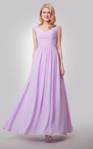 Cap Sleeved V Neck Pleated Chiffon Dress With Ruching And Back Bow