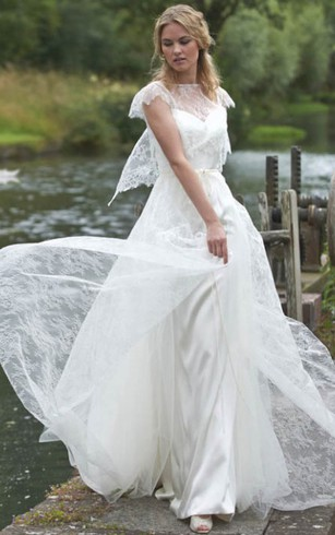 9228e4d11 Sheath Jewel-Neck Poet-Sleeve Maxi Lace Chiffon Wedding Dress With ...