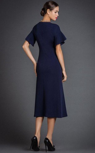 High Neck Short Bell Sleeve A-line Tea Length Jersey Dress