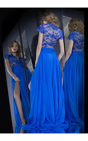 Hot Sale Long Lace Royal Blue Prom Dresses Slit Front Short Sleeves Evening Gown