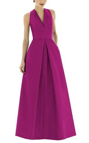 V Neck Satin Long Bridesmaid Dress With Pockets