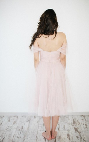 Off-The-Shoulder Tea Length A-Line Tulle Dress With Ruching