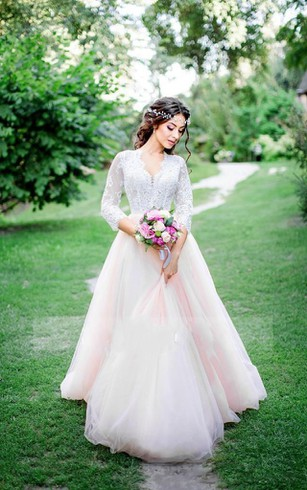 V-Neck Lace and Tulle Wedding Dresses