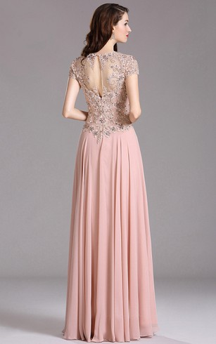 A-Line Queen Anne Short Sleeve Chiffon Appliques Keyhole Dress