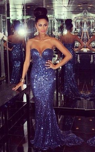 Glamorous Sweetheart Mermaid Prom Dresses Sequined Sexy Evening Dresses