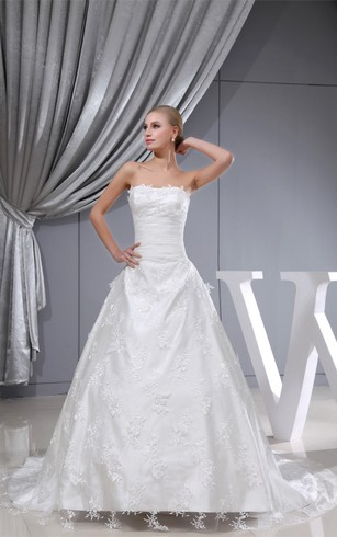 Perfect Long Sleeveless A Line Lace Gown With Tulle Overlay And Cinched Waistband  ...