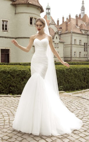 Sweetheart Mermaid Sleeveless Floor-length Ruching Dress