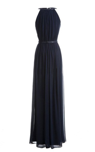 High-neck Long Chiffon Gown With Sequined Waist