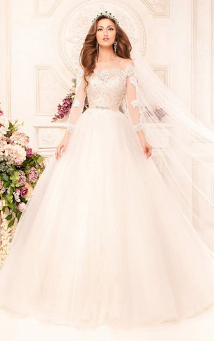 Ball Gown Long Off-The-Shoulder Long-Sleeve Illusion Tulle Dress With Appliques And Beading