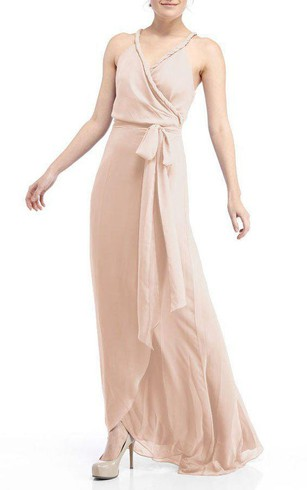 Stred Chiffon Bridesmaid Dress With Sash