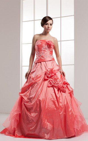 Sleeveless Appliqued Pick-Up Beading and Ball-Gown With Flower