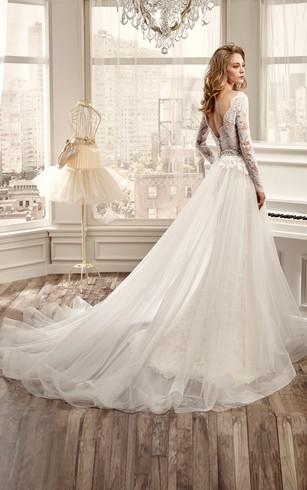 Sleeved bridal dresses long sleeves wedding dress dorris wedding long sleeve v neck wedding dress with low v back and beaded waistline junglespirit Images