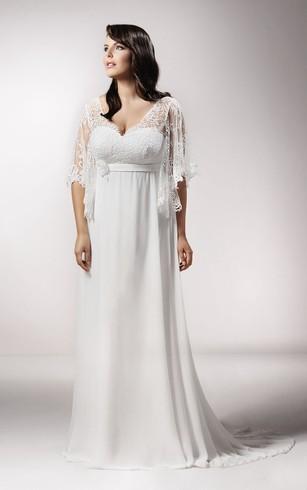 Full Figure Size Beach Bridal Dresses | Chiffon Wedding Gowns For ...