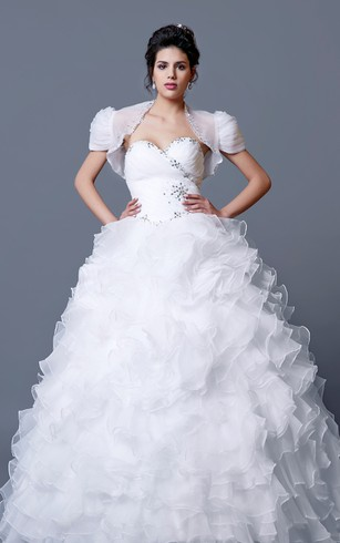Grand Ruffled Quinceanera Dress with Short Sleeves Jacket