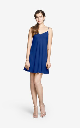 Back-to-basic Spaghetti Strap Mini Chiffon Dress With Ruching