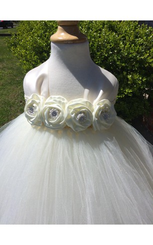 Jewel Empire Flower Bodice Pleated Tulle Gown With Bow