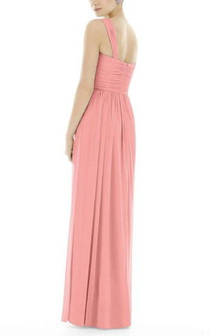 One Shoulder Ruched Long Bridesmaid Dress
