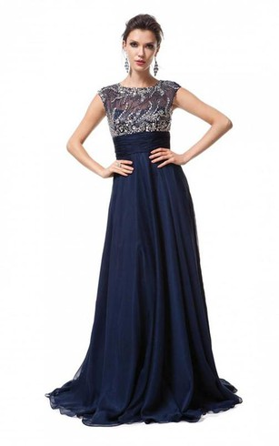 A-line Sleeveless Scoop Floor-Length Chiffon Beading Dresses