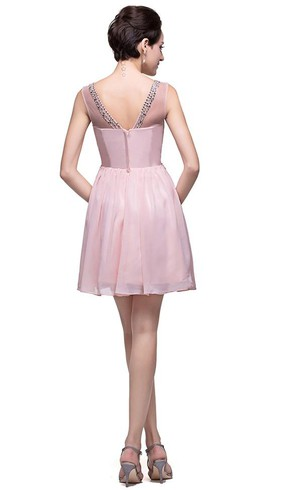 Elegant Sleeveless Crystal Short Homecoming Dress 2016 Chiffon