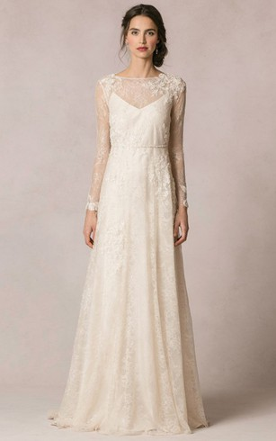 Sheath Floor Length Jewel Neck Long Sleeve Lace Wedding Dress With Liques And